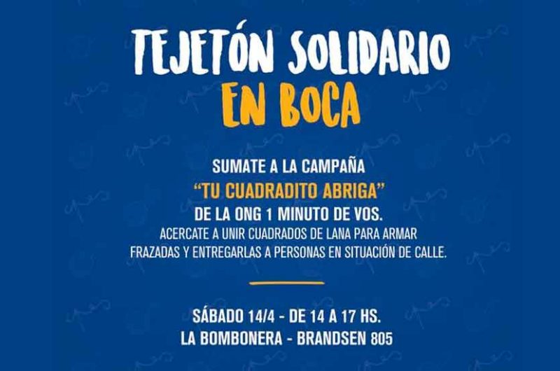 """Boca se suman a la iniciativa solidaria llamada """"TEJETÓN"""""""