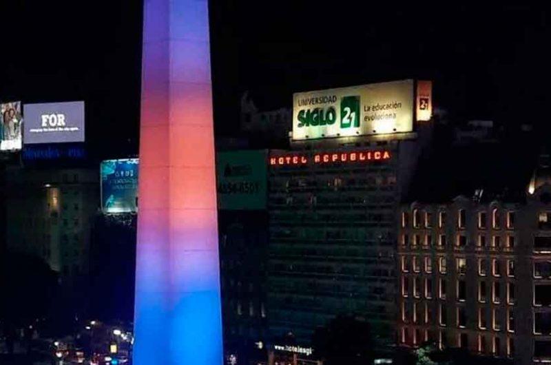 El Obelisco se iluminó de azul y oro para celebrar el título de Boca