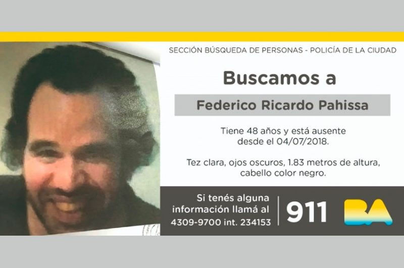 Búsqueda de paradero de Federico Ricardo Pahissa