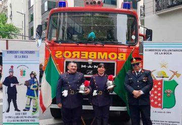 Bomberos de La Boca en Buenos Aires celebra Italia