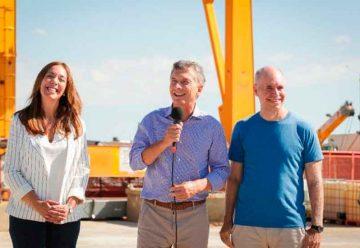 Macri participó de una visita a la obra de red de desagües