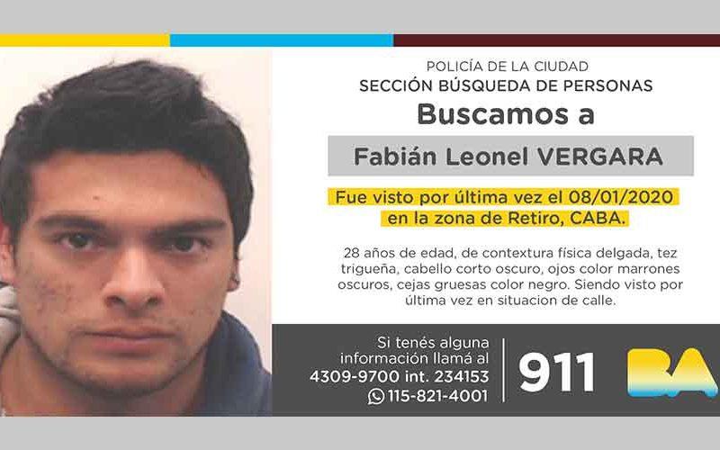 Búsqueda de persona – Fabián Leonel Vergara