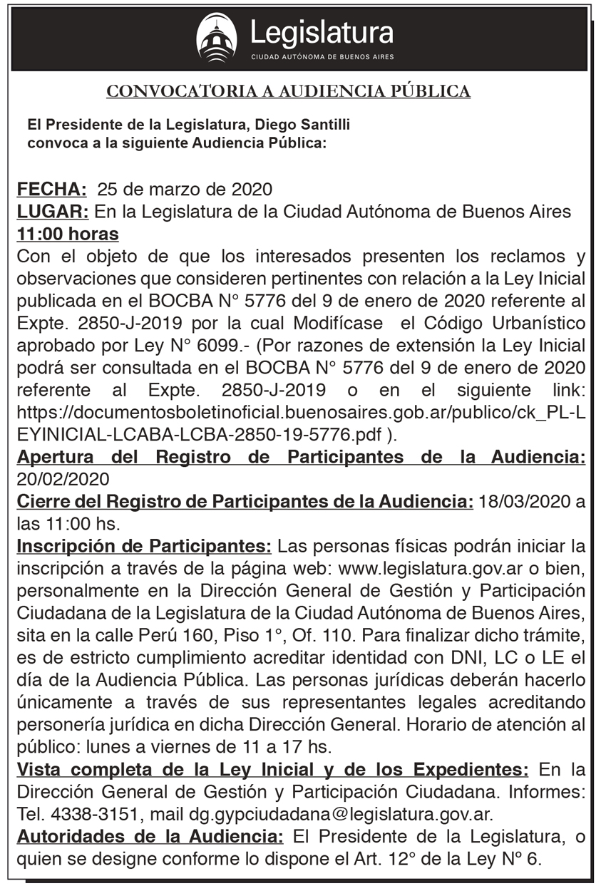 Audiencia Pública 25 de marzo de 2020