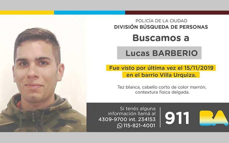 Búsqueda de persona – Lucas Barberio