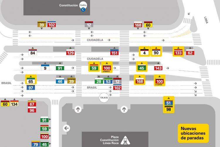 Cambian las paradas de colectivos en el Centro de Trasbordo