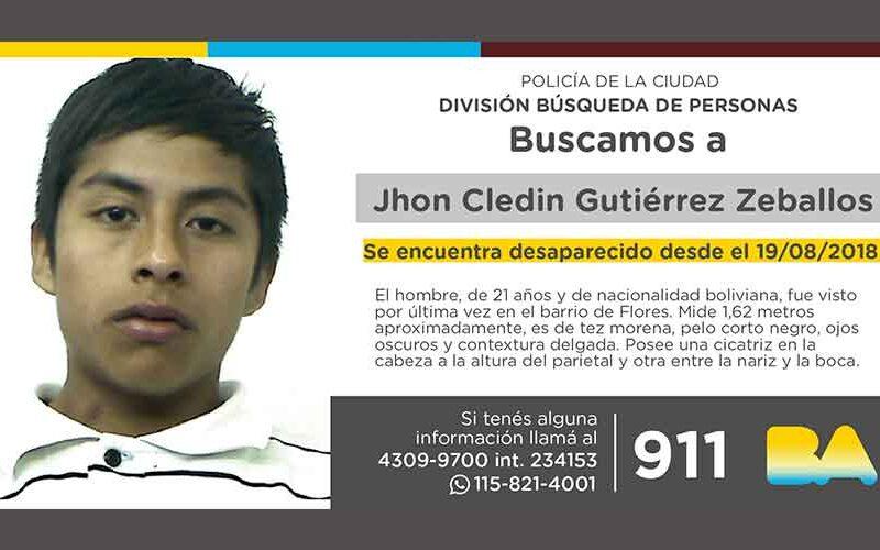 Búsqueda de persona – Jhon Cledin Gutiérrez Zeballos
